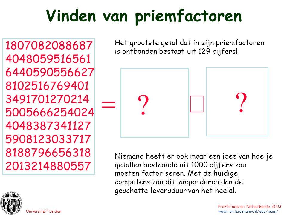 Universiteit Leiden Proefstuderen Natuurkunde 2003 www.lion.leidenuniv.nl/edu/main/ 1807082088687 4048059516561 6440590556627 8102516769401 3491701270