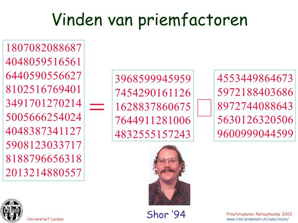 Universiteit Leiden Proefstuderen Natuurkunde 2003 www.lion.leidenuniv.nl/edu/main/ Q-computing ??.