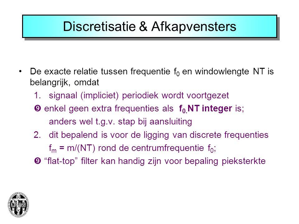 Discretisatie & Afkapvensters De exacte relatie tussen frequentie f 0 en windowlengte NT is belangrijk, omdat 1. signaal (impliciet) periodiek wordt v
