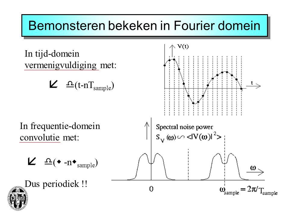 Bemonsteren bekeken in Fourier domein In tijd-domein vermenigvuldiging met:  (t-nT sample )    (  -n  sample ) In frequentie-domein convolutie met: Dus periodiek !!