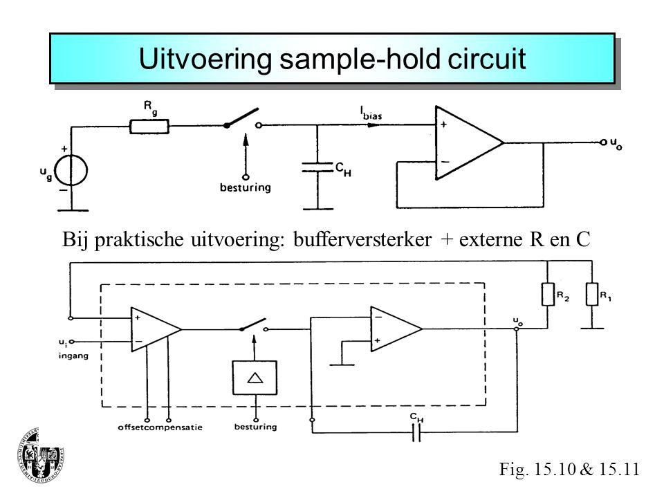 Uitvoering sample-hold circuit Bij praktische uitvoering: bufferversterker + externe R en C Fig. 15.10 & 15.11