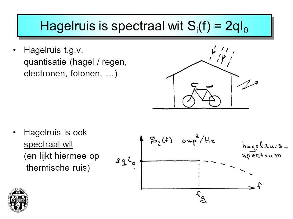 Hagelruis is spectraal wit S i (f) = 2qI 0 Hagelruis t.g.v. quantisatie (hagel / regen, electronen, fotonen, …) Hagelruis is ook spectraal wit (en lij