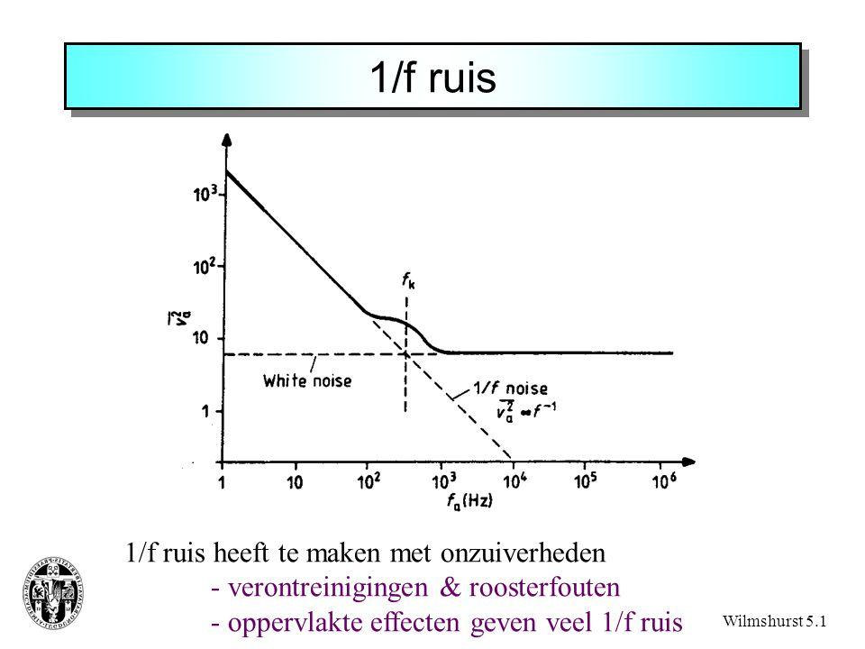 1/f ruis Wilmshurst 5.1 1/f ruis heeft te maken met onzuiverheden - verontreinigingen & roosterfouten - oppervlakte effecten geven veel 1/f ruis