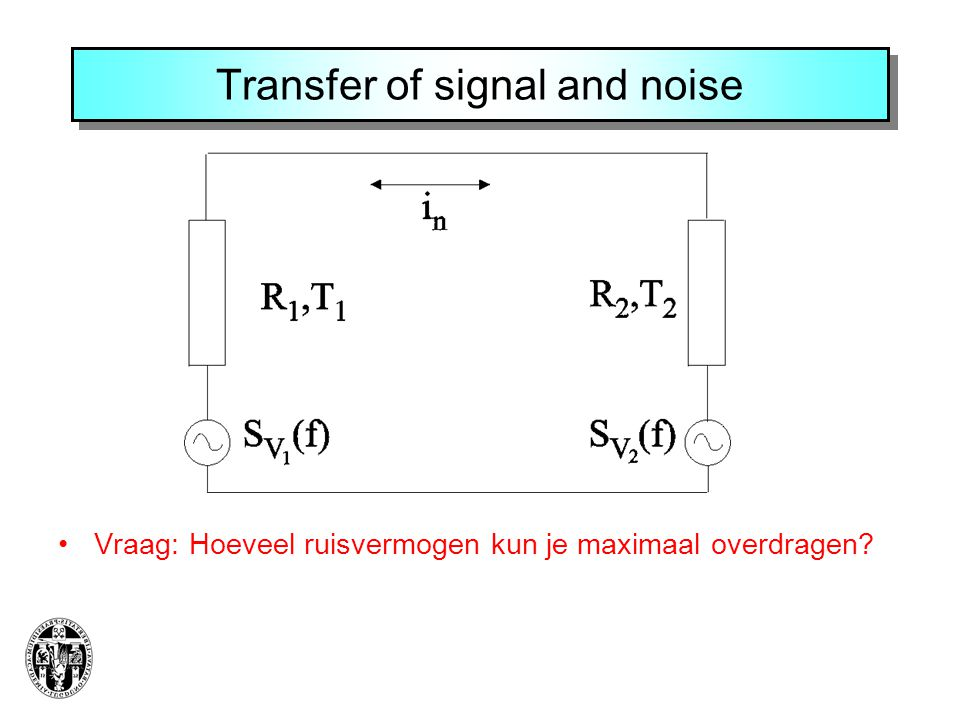 Transfer of signal and noise Vraag: Hoeveel ruisvermogen kun je maximaal overdragen?