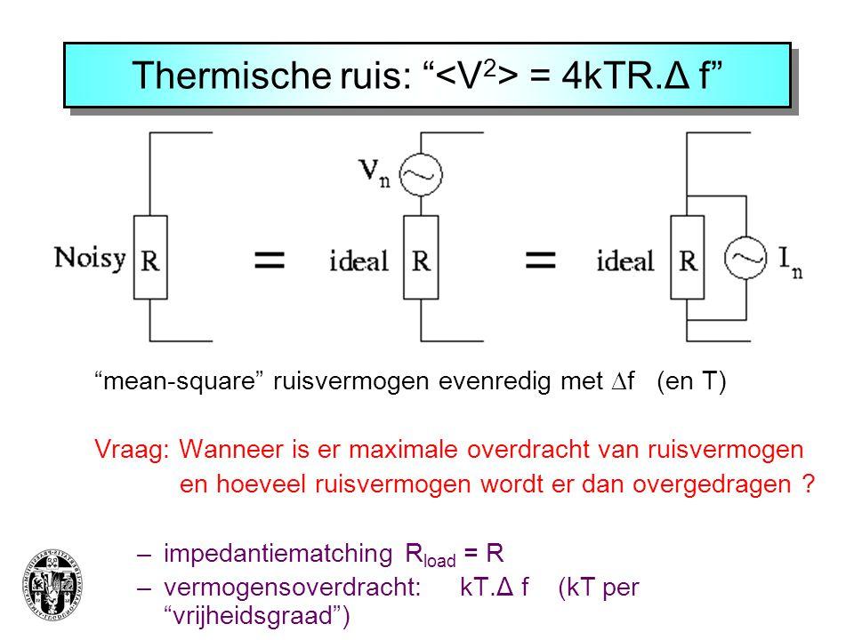 """Thermische ruis: """" = 4kTR.Δ f"""" """"mean-square"""" ruisvermogen evenredig met  f (en T) Vraag: Wanneer is er maximale overdracht van ruisvermogen en hoevee"""
