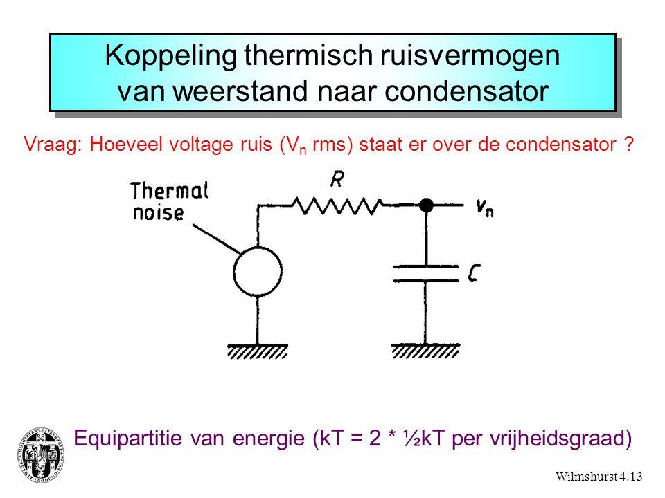 Koppeling thermisch ruisvermogen van weerstand naar condensator Vraag: Hoeveel voltage ruis (V n rms) staat er over de condensator ? Wilmshurst 4.13 E