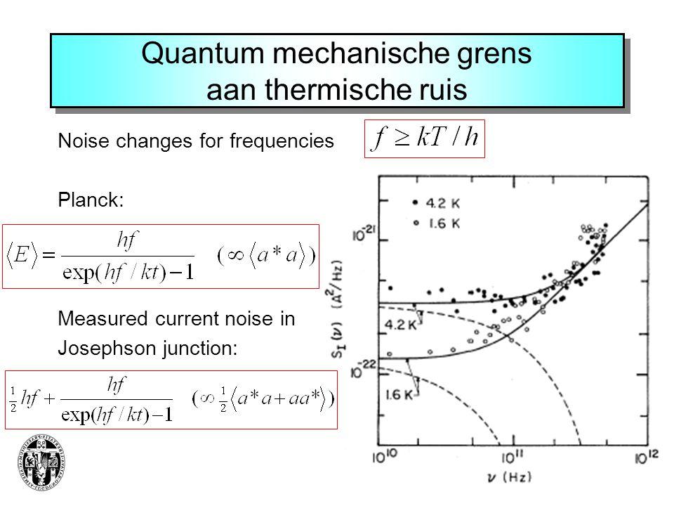 Quantum mechanische grens aan thermische ruis Noise changes for frequencies Planck: Measured current noise in Josephson junction: