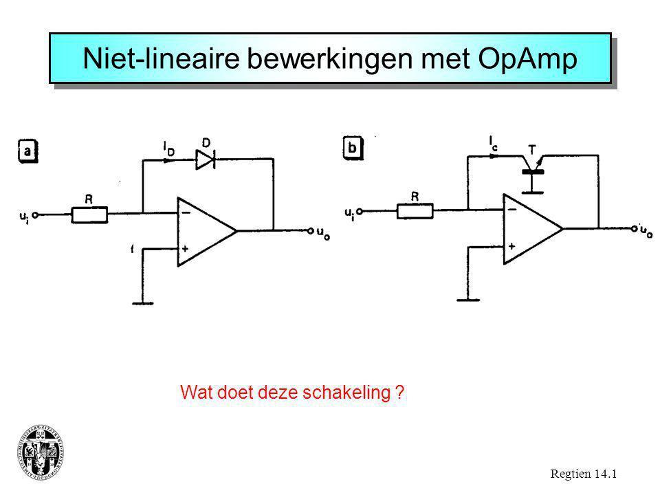 Niet-lineaire bewerkingen met OpAmp Regtien 14.1 Wat doet deze schakeling ?