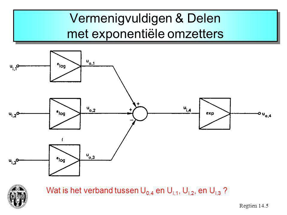 Vermenigvuldigen & Delen met exponentiële omzetters Regtien 14.5 Wat is het verband tussen U 0,4 en U i,1, U i,2, en U i,3 ?