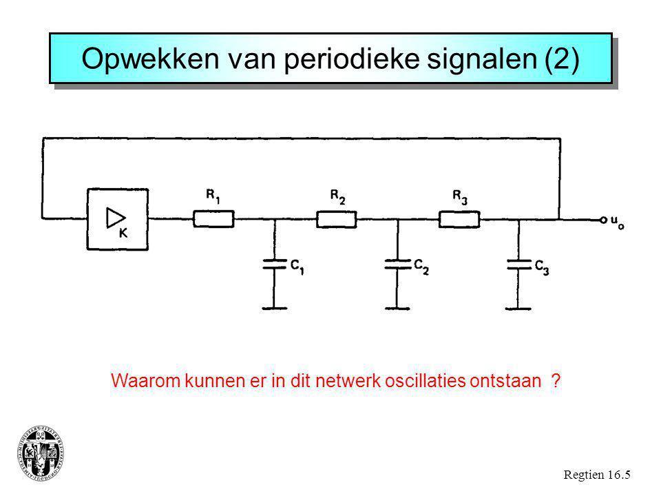 Regtien 16.5 Opwekken van periodieke signalen (2) Waarom kunnen er in dit netwerk oscillaties ontstaan ?