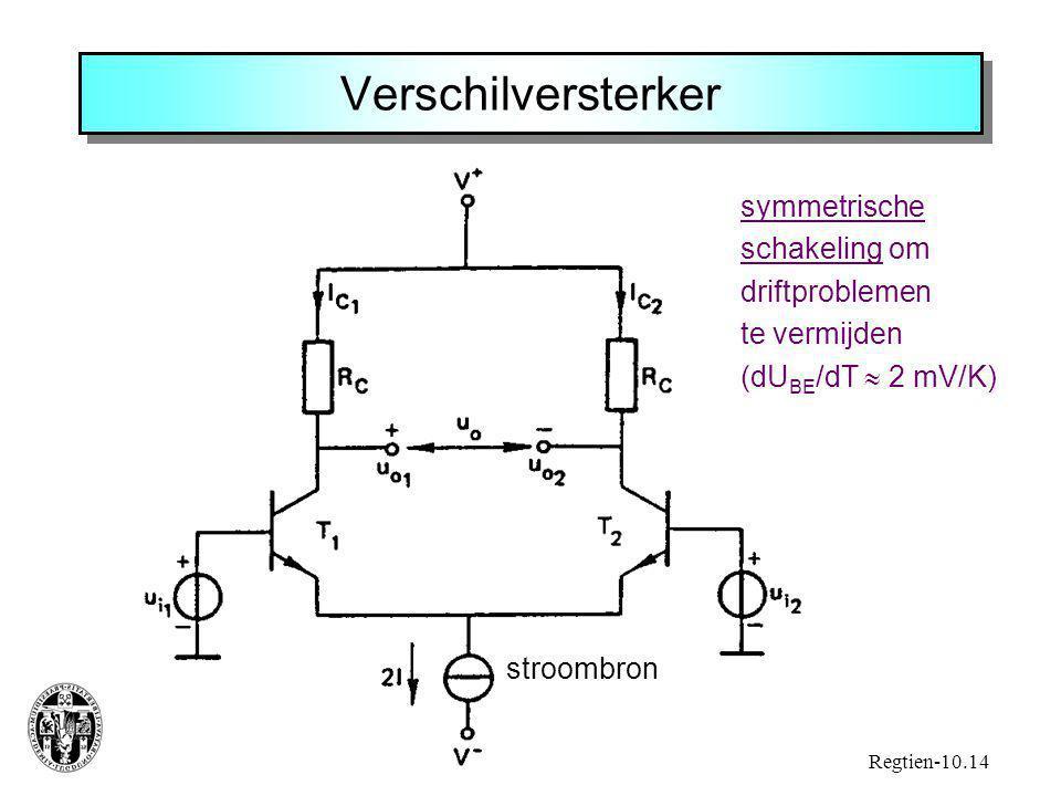 Verschilversterker stroombron Regtien-10.14 symmetrische schakeling om driftproblemen te vermijden (dU BE /dT  2 mV/K)