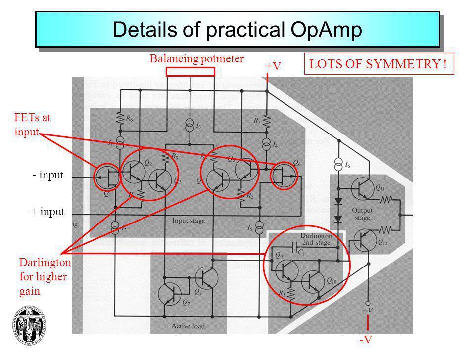 Details of practical OpAmp - input + input Balancing potmeter +V -V FETs at input Darlington for higher gain LOTS OF SYMMETRY !