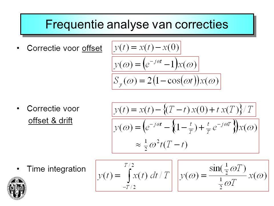 Frequentie analyse van correcties Correctie voor offset Correctie voor offset & drift Time integration