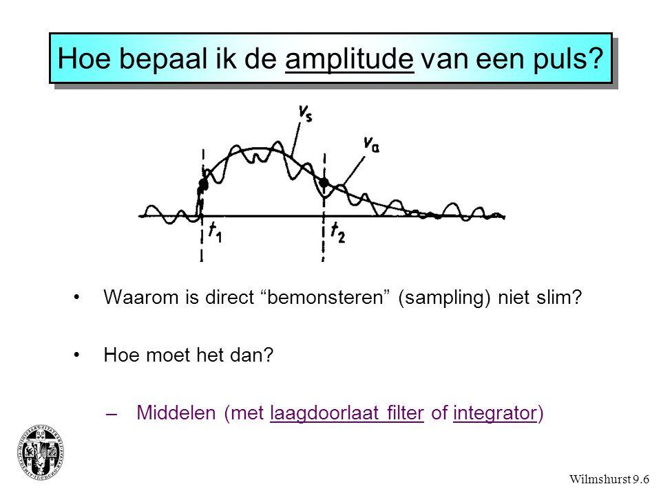 """Hoe bepaal ik de amplitude van een puls? Waarom is direct """"bemonsteren"""" (sampling) niet slim? Hoe moet het dan? –Middelen (met laagdoorlaat filter of"""