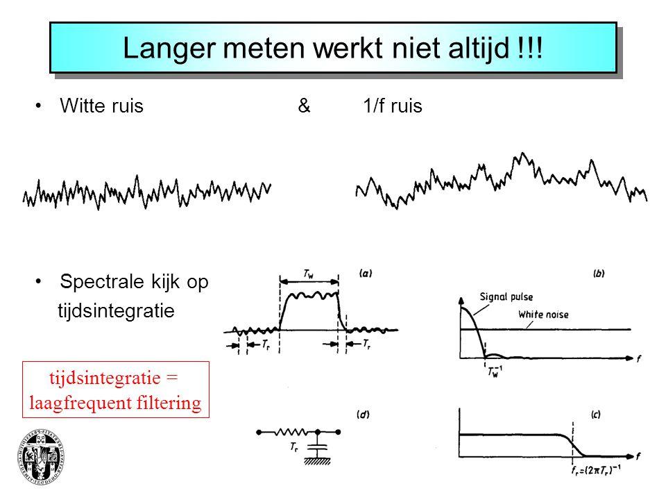 Langer meten werkt niet altijd !!! Witte ruis & 1/f ruis Spectrale kijk op tijdsintegratie tijdsintegratie = laagfrequent filtering