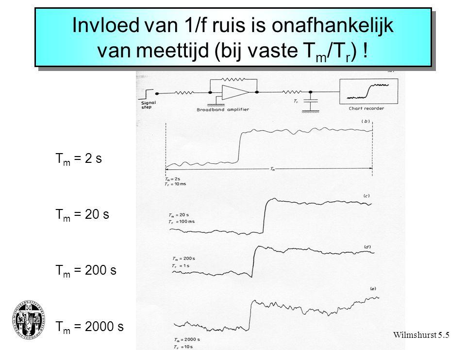 Invloed van 1/f ruis is onafhankelijk van meettijd (bij vaste T m /T r ) ! T m = 2 s T m = 20 s T m = 200 s T m = 2000 s Wilmshurst 5.5