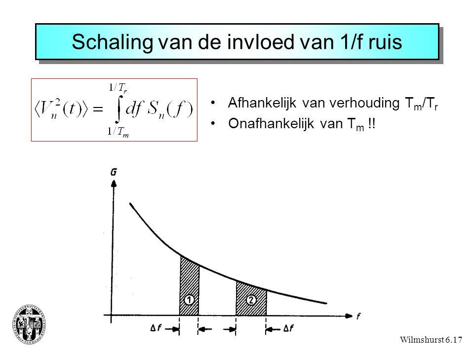 Schaling van de invloed van 1/f ruis Wilmshurst 6.17 Afhankelijk van verhouding T m /T r Onafhankelijk van T m !!