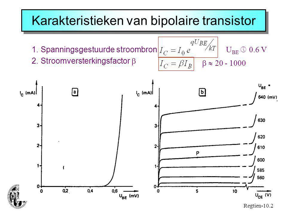 Karakteristieken van bipolaire transistor 1.Spanningsgestuurde stroombron 2.Stroomversterkingsfactor  Regtien-10.2 U BE  0.6 V   20 - 1000