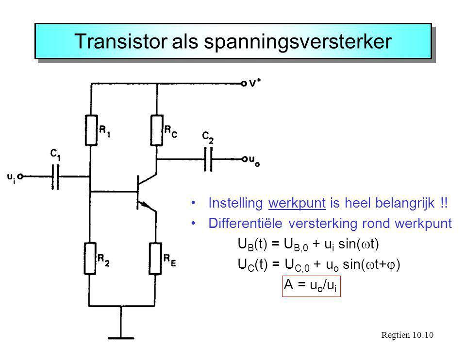 Transistor als spanningsversterker Regtien 10.10 Instelling werkpunt is heel belangrijk !! Differentiële versterking rond werkpunt U B (t) = U B,0 + u
