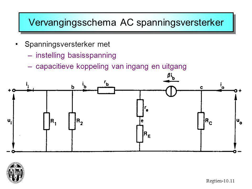 Vervangingsschema AC spanningsversterker Spanningsversterker met –instelling basisspanning –capacitieve koppeling van ingang en uitgang Regtien-10.11