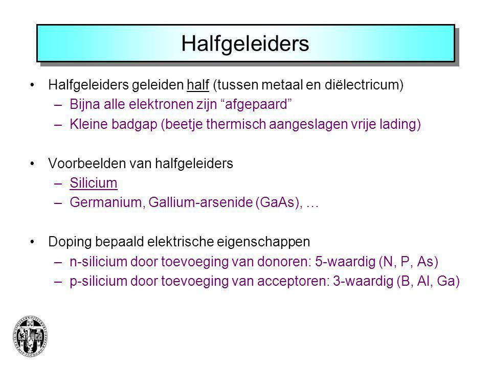 """Halfgeleiders Halfgeleiders geleiden half (tussen metaal en diëlectricum) –Bijna alle elektronen zijn """"afgepaard"""" –Kleine badgap (beetje thermisch aan"""