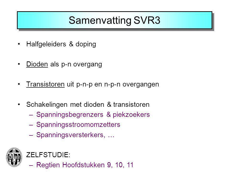 Samenvatting SVR3 Halfgeleiders & doping Dioden als p-n overgang Transistoren uit p-n-p en n-p-n overgangen Schakelingen met dioden & transistoren –Sp