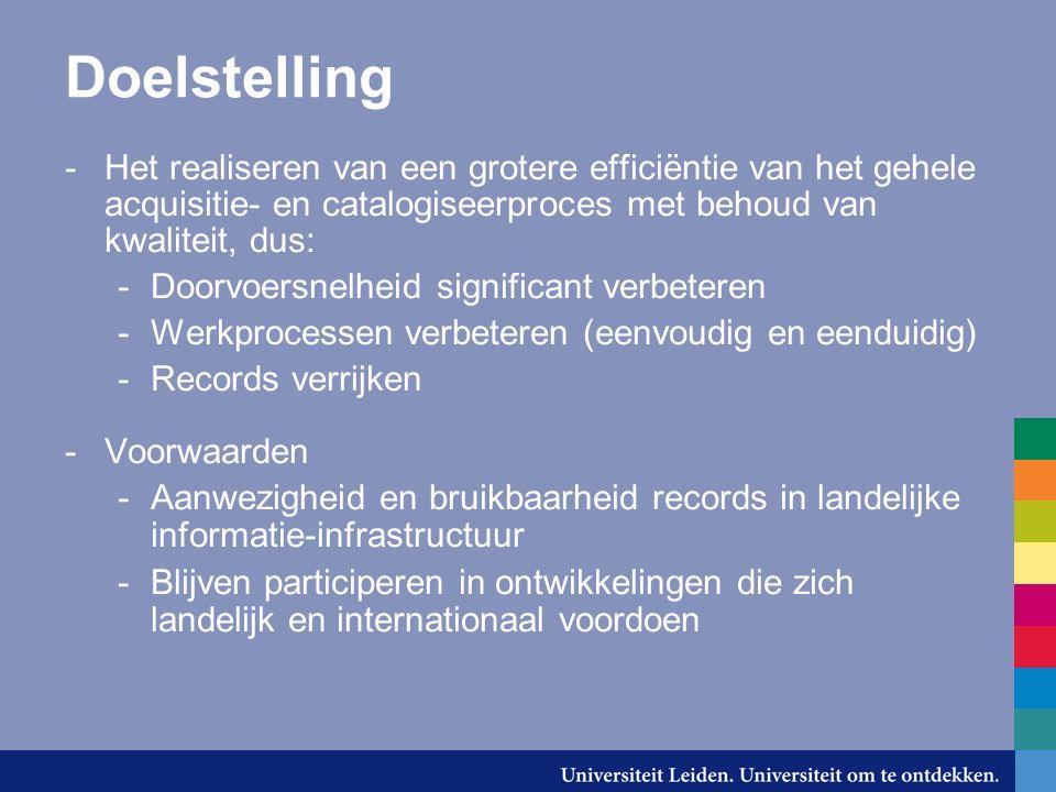 Doelstelling -Het realiseren van een grotere efficiëntie van het gehele acquisitie- en catalogiseerproces met behoud van kwaliteit, dus: -Doorvoersnel
