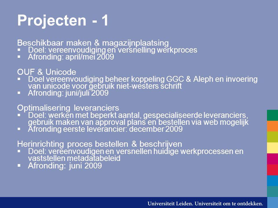 Projecten - 1 Beschikbaar maken & magazijnplaatsing  Doel: vereenvoudiging en versnelling werkproces  Afronding: april/mei 2009 OUF & Unicode  Doel
