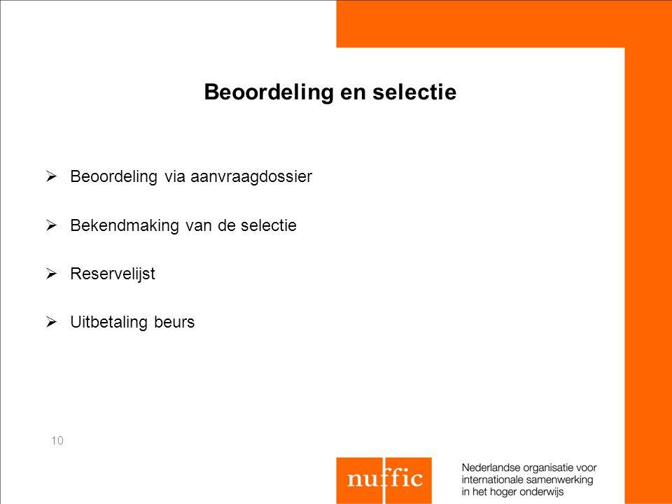 Beoordeling en selectie  Beoordeling via aanvraagdossier  Bekendmaking van de selectie  Reservelijst  Uitbetaling beurs 10