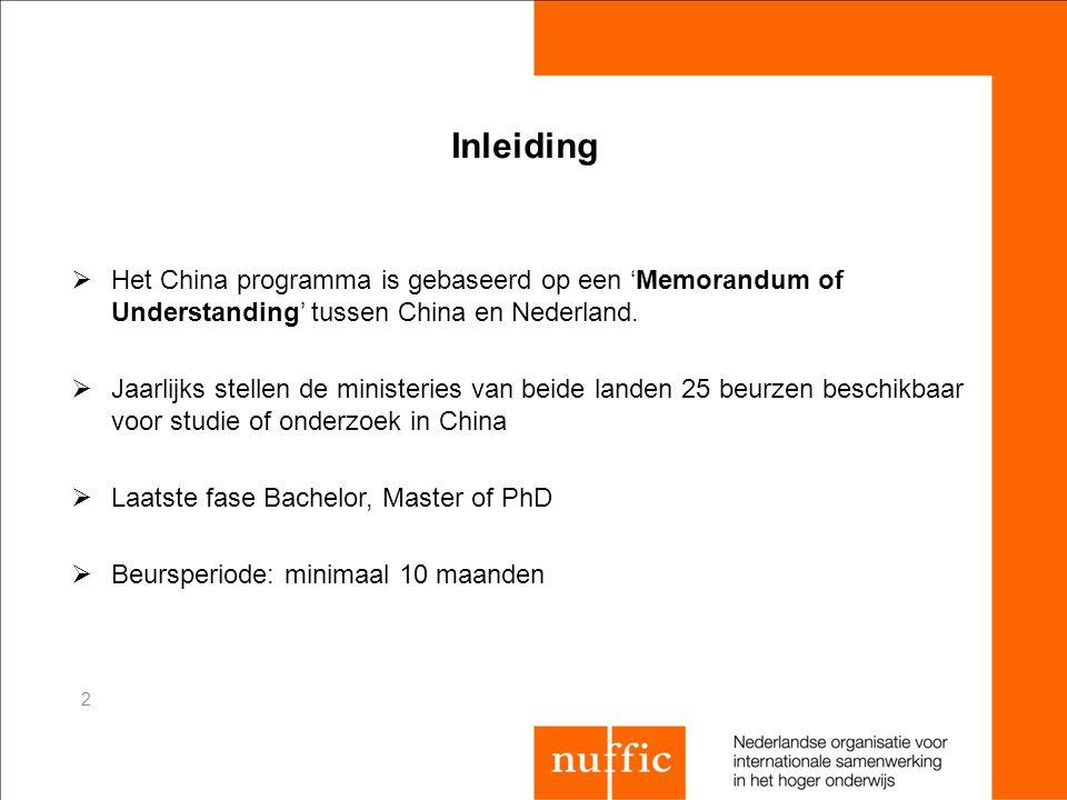 Inleiding  Het China programma is gebaseerd op een 'Memorandum of Understanding' tussen China en Nederland.  Jaarlijks stellen de ministeries van be