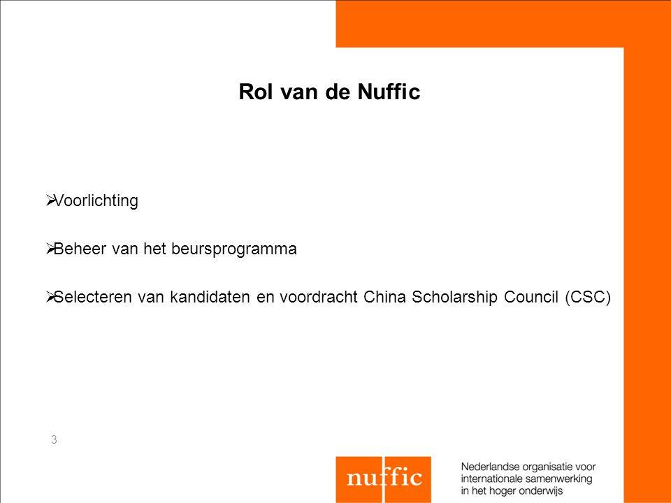 3 Rol van de Nuffic  Voorlichting  Beheer van het beursprogramma  Selecteren van kandidaten en voordracht China Scholarship Council (CSC)