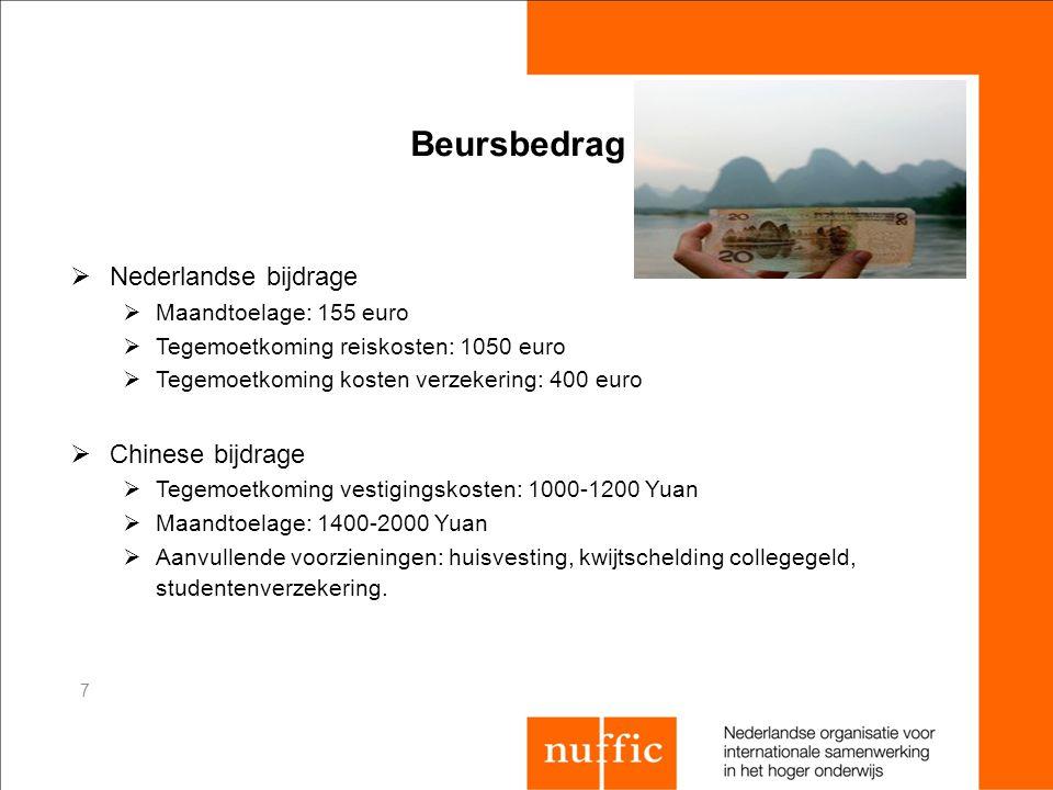Beursbedrag  Nederlandse bijdrage  Maandtoelage: 155 euro  Tegemoetkoming reiskosten: 1050 euro  Tegemoetkoming kosten verzekering: 400 euro  Chi