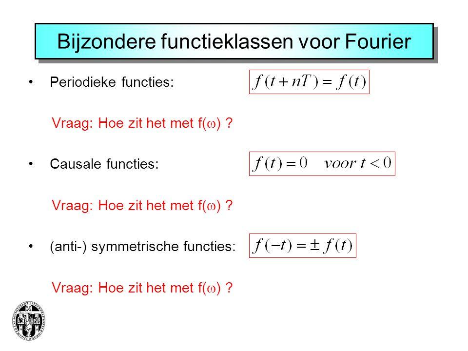 Bijzondere functieklassen voor Fourier Periodieke functies: Vraag: Hoe zit het met f(  ) .
