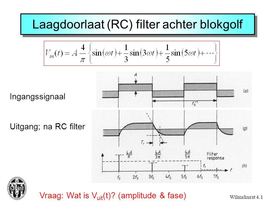 Laagdoorlaat (RC) filter achter blokgolf Vraag: Wat is V uit (t).