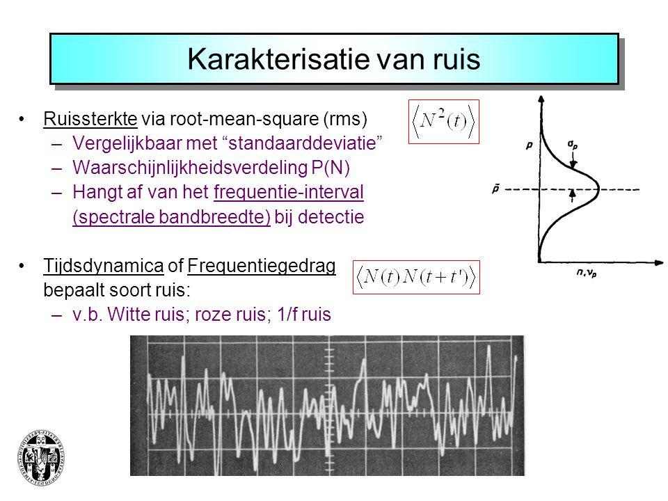 Karakterisatie van ruis Ruissterkte via root-mean-square (rms) –Vergelijkbaar met standaarddeviatie –Waarschijnlijkheidsverdeling P(N) –Hangt af van het frequentie-interval (spectrale bandbreedte) bij detectie Tijdsdynamica of Frequentiegedrag bepaalt soort ruis: –v.b.