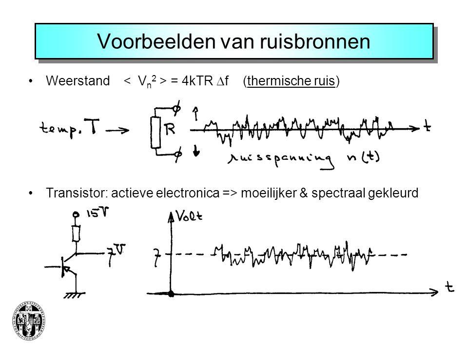 Voorbeelden van ruisbronnen Weerstand = 4kTR  f (thermische ruis) Transistor: actieve electronica => moeilijker & spectraal gekleurd