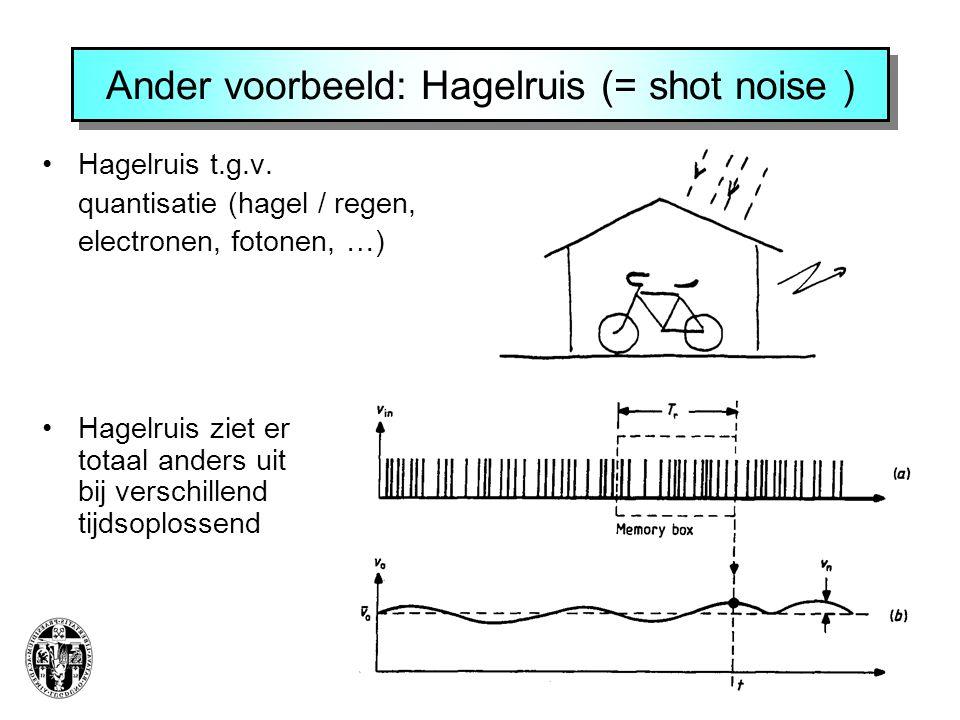Ander voorbeeld: Hagelruis (= shot noise ) Hagelruis t.g.v.