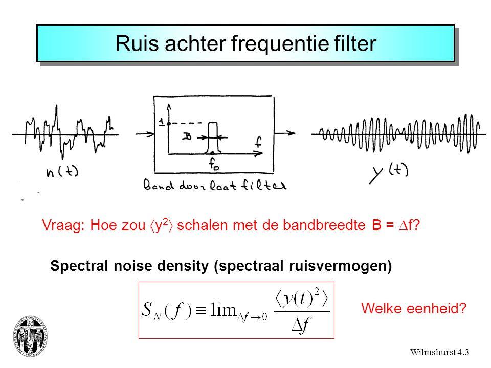 Ruis achter frequentie filter Wilmshurst 4.3 Vraag: Hoe zou  y 2  schalen met de bandbreedte B =  f.