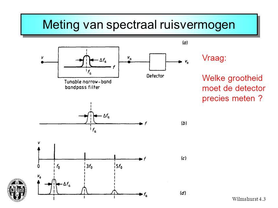 Meting van spectraal ruisvermogen Wilmshurst 4.3 Vraag: Welke grootheid moet de detector precies meten ?
