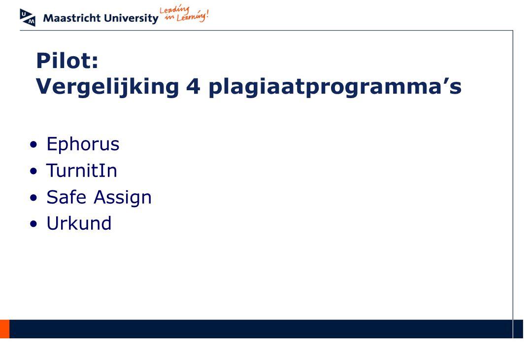 Pilot: Vergelijking 4 plagiaatprogramma's Ephorus TurnitIn Safe Assign Urkund