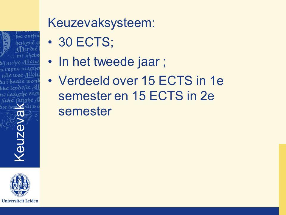 Keuzevak Keuzevaksysteem: 30 ECTS; In het tweede jaar ; Verdeeld over 15 ECTS in 1e semester en 15 ECTS in 2e semester