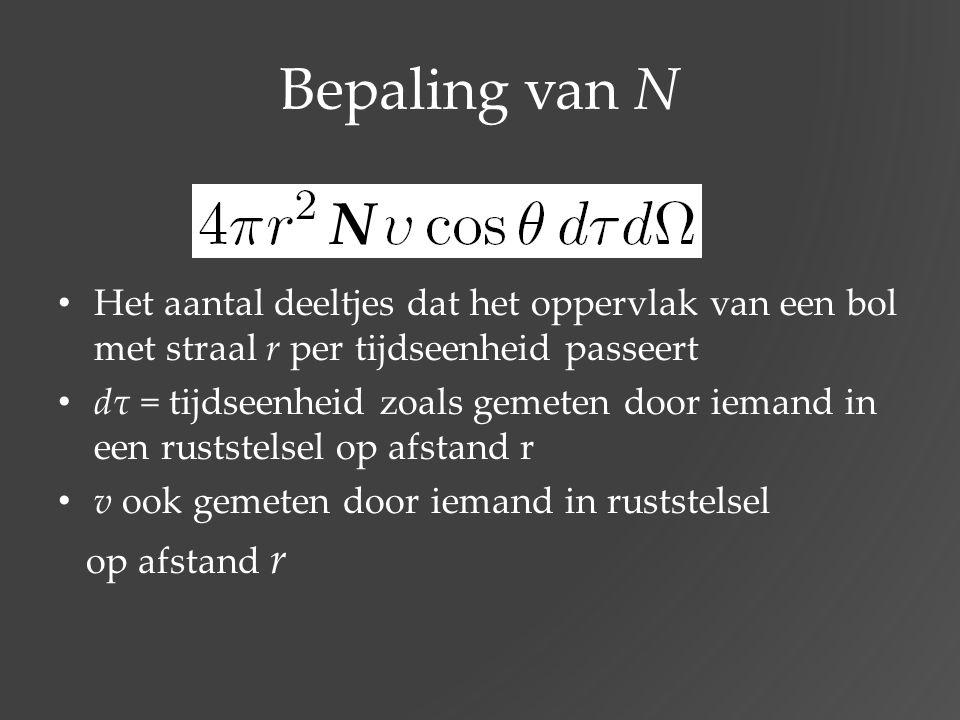 Bepaling van N Het aantal deeltjes dat het oppervlak van een bol met straal r per tijdseenheid passeert dτ = tijdseenheid zoals gemeten door iemand in