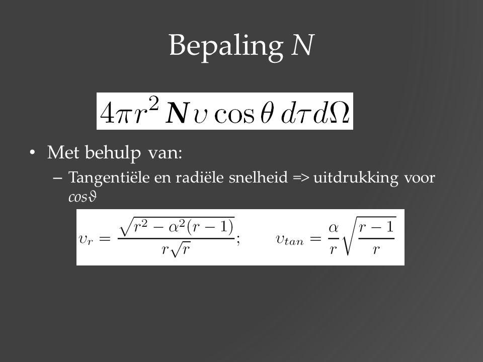 Bepaling N Met behulp van: – Tangentiële en radiële snelheid => uitdrukking voor cosϑ N