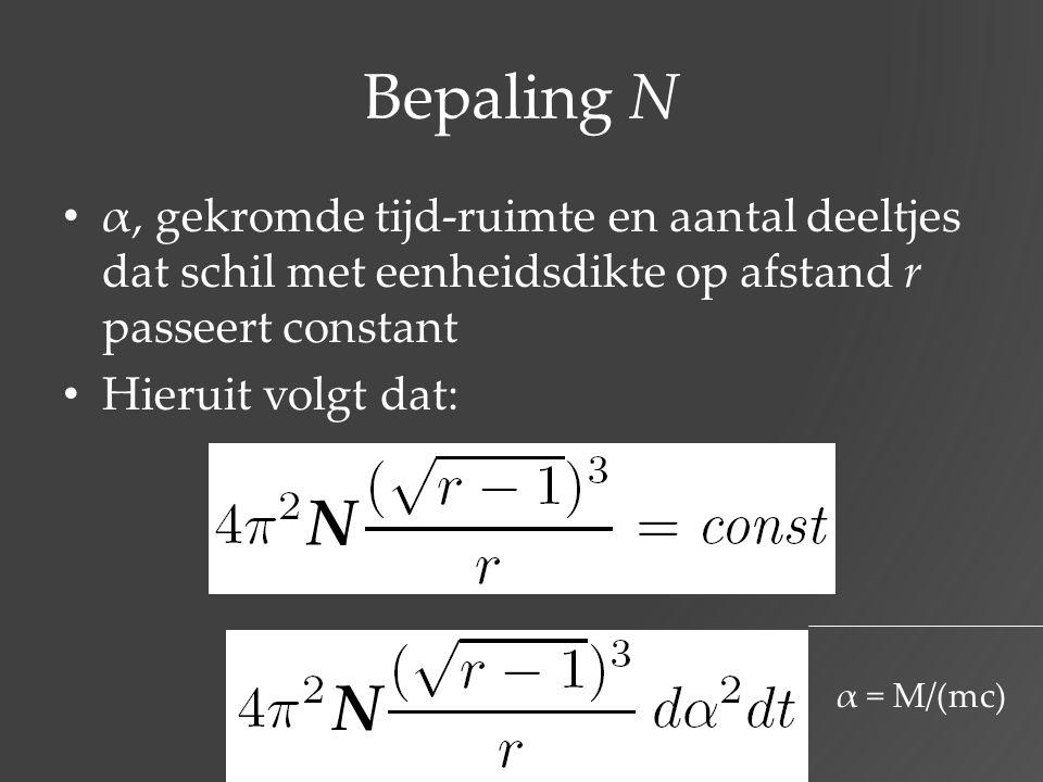 Bepaling N α, gekromde tijd-ruimte en aantal deeltjes dat schil met eenheidsdikte op afstand r passeert constant Hieruit volgt dat: N α = M/(mc) N