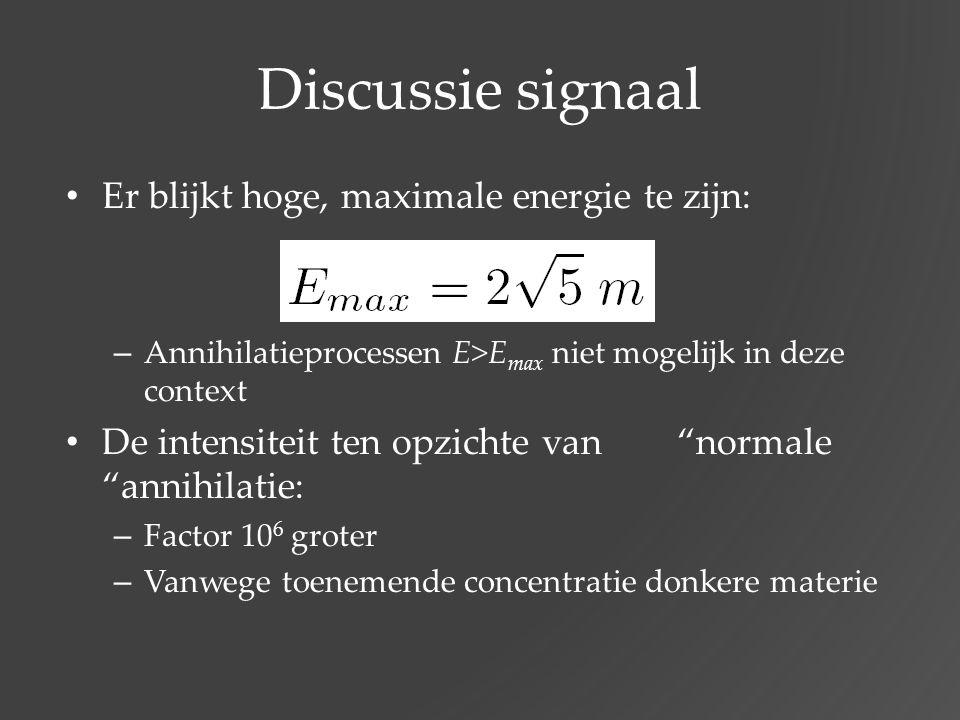 Discussie signaal Er blijkt hoge, maximale energie te zijn: – Annihilatieprocessen E>E max niet mogelijk in deze context De intensiteit ten opzichte v