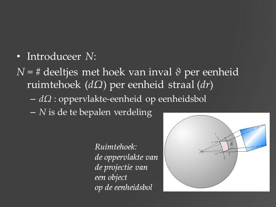 Introduceer N: N = # deeltjes met hoek van inval ϑ per eenheid ruimtehoek (dΩ) per eenheid straal (dr) – dΩ : oppervlakte-eenheid op eenheidsbol – N i