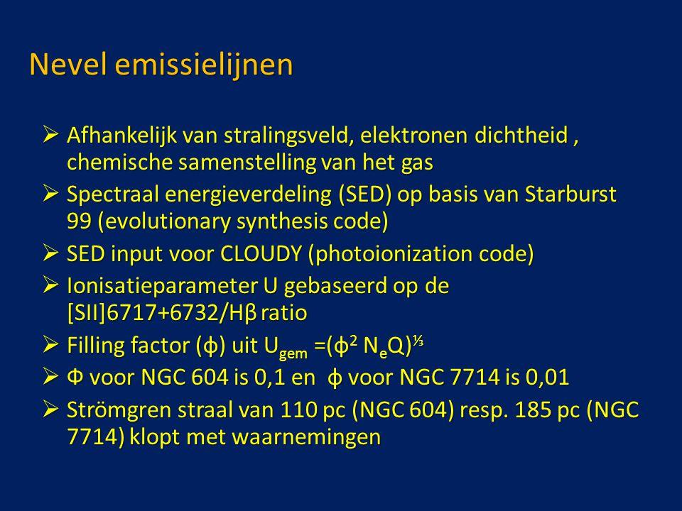 Nevel emissielijnen  Afhankelijk van stralingsveld, elektronen dichtheid, chemische samenstelling van het gas  Spectraal energieverdeling (SED) op basis van Starburst 99 (evolutionary synthesis code)  SED input voor CLOUDY (photoionization code)  Ionisatieparameter U gebaseerd op de [SII]6717+6732/Hβ ratio  Filling factor (ф) uit U gem =(ф 2 N e Q) ⅓  Ф voor NGC 604 is 0,1 en ф voor NGC 7714 is 0,01  Strömgren straal van 110 pc (NGC 604) resp.