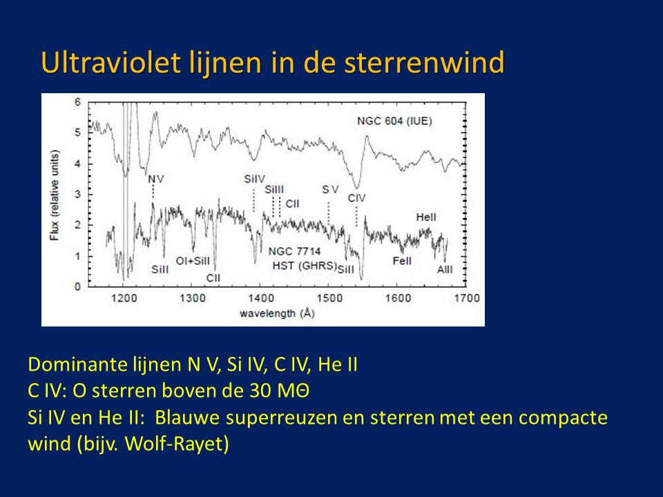 Ultraviolet lijnen in de sterrenwind Dominante lijnen N V, Si IV, C IV, He II C IV: O sterren boven de 30 MΘ Si IV en He II: Blauwe superreuzen en sterren met een compacte wind (bijv.
