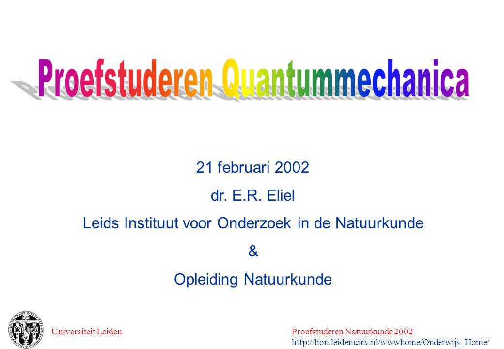 Universiteit LeidenProefstuderen Natuurkunde 2002 http://lion.leidenuniv.nl/wwwhome/Onderwijs_Home/ 21 februari 2002 dr. E.R. Eliel Leids Instituut vo