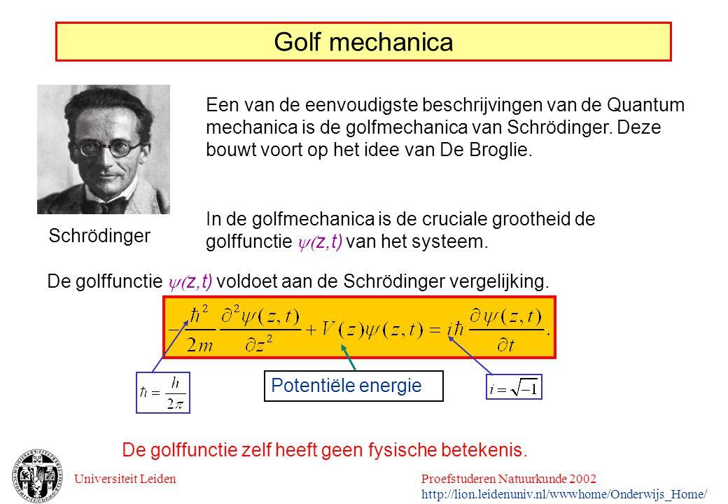 Universiteit LeidenProefstuderen Natuurkunde 2002 http://lion.leidenuniv.nl/wwwhome/Onderwijs_Home/ Golf mechanica Een van de eenvoudigste beschrijvin